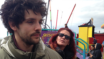 Colin Morgan on the set of The Laughing King